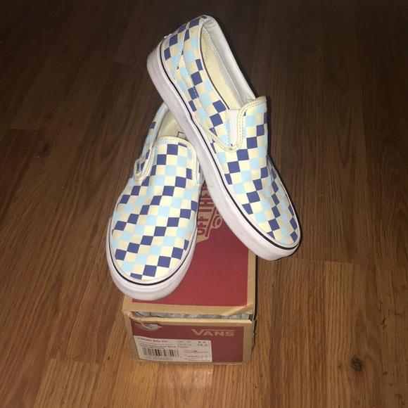 UNISEX Topaz Blue Checkered Slip On Vans. M 5b485008aaa5b8f8157c3f71 4ae58383f